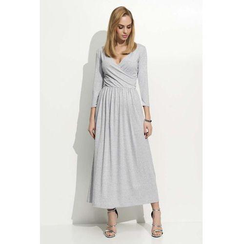 Szara Sukienka Wizytowa Długa z Kopertowym Dekoltem, kopertowa