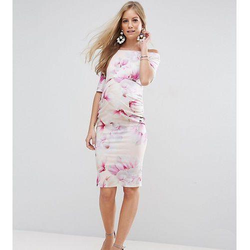 Asos maternity  petite bardot dress with half sleeve in light floral print - multi