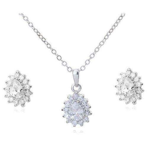 Mak-biżuteria Kpl 599/570 komplet kolczyki i wisiorek z krystalicznymi łezkami plus łańcuszek, srebrny