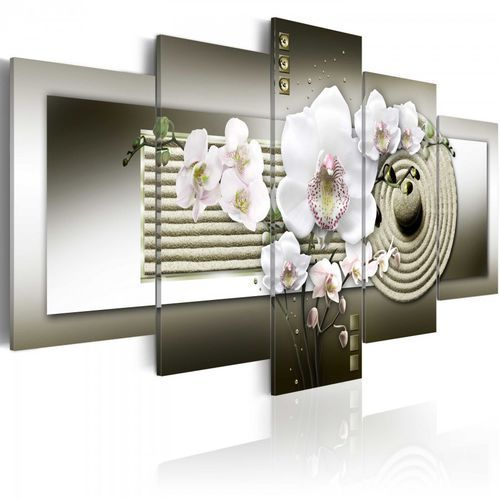 Artgeist Obraz - orchidea i ogród zen w szarościach (100x50 cm)
