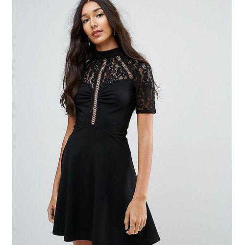 ASOS TALL High Neck Skater Dress With Lace Panel - Black, kolor czarny