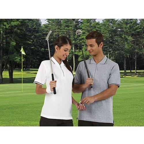 Polo krótki rękaw, zapięcie na zamek suwak, bawełna 220 g/m2 golf s bialy marki Valento