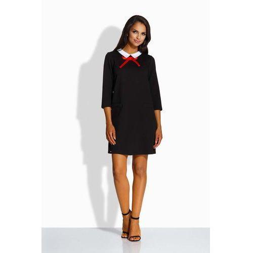 Czarna Kobieca Sukienka z Białym Kołnierzykiem, kolor czarny