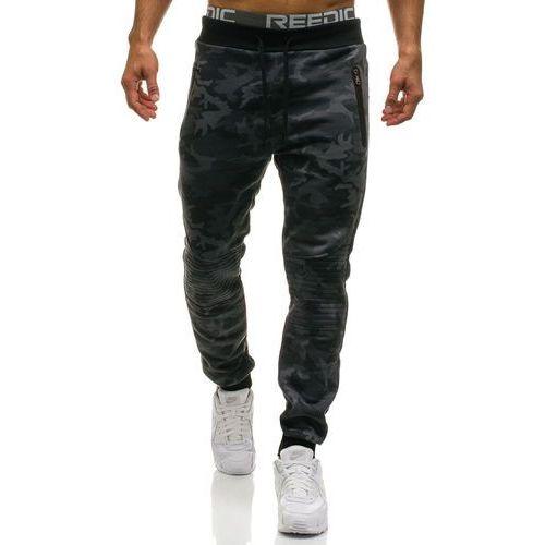 Spodnie męskie dresowe joggery moro-szary Denley W1377, kolor szary