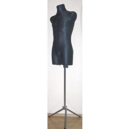 Manekin krawiecki - tors męski długi czarny - rozmiar M/L na metalowym trójnogu., 00135