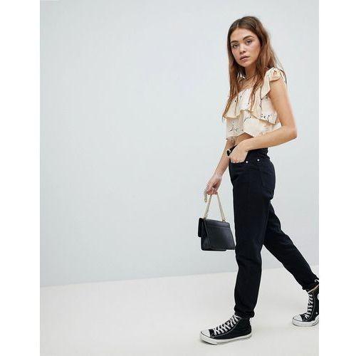turn up hem mom jeans - black marki Boohoo