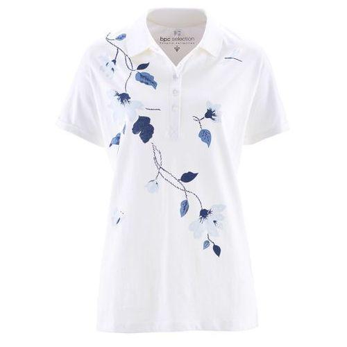 Shirt polo bonprix biało-ciemnoniebieski z nadrukiem, bawełna