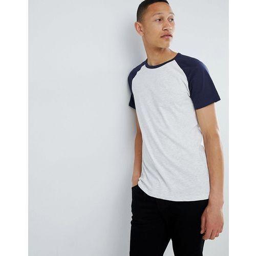 regular fit colour block t-shirt in navy and grey - navy marki Burton menswear