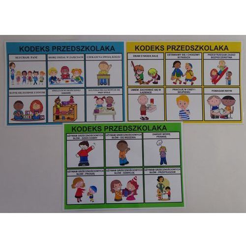 Kodeks przedszkolaka - 3 x plansze edukacyjne marki Bystra sowa