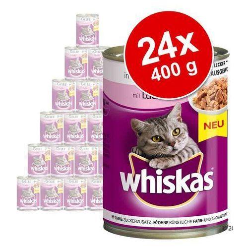 Megapakiet Whiskas Adult, puszki, 24 x 400 g - Łosoś w galarecie