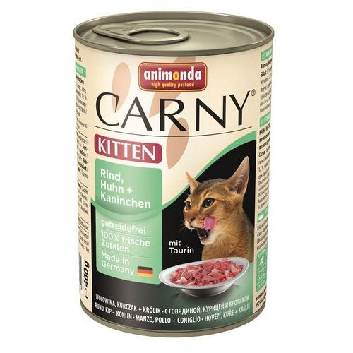 carny kitten smak: wołowina, kurczak i królik 6x400g marki Animonda