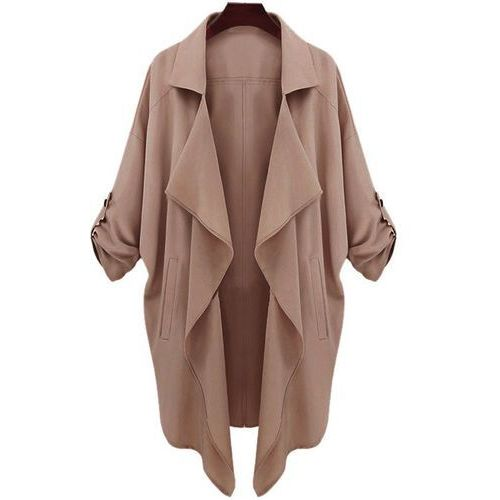 Lapel Neck Long Sleeve Solid Color Trench Coat, 1 rozmiar