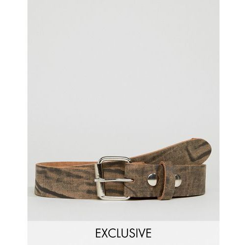 Reclaimed vintage  inspired leather belt in brown with distressing - brown