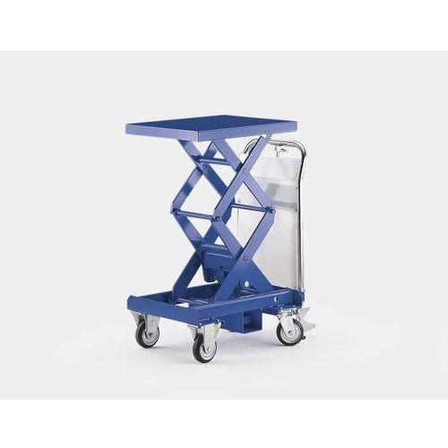 Dwunożycowy podnośny wózek stołowy, niebieski gencjanowy, nośność 350 kg, zakres