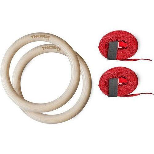 Thorn+fit Drewniane kółka gimnastyczne z pasami thorn + fit - 32 mm