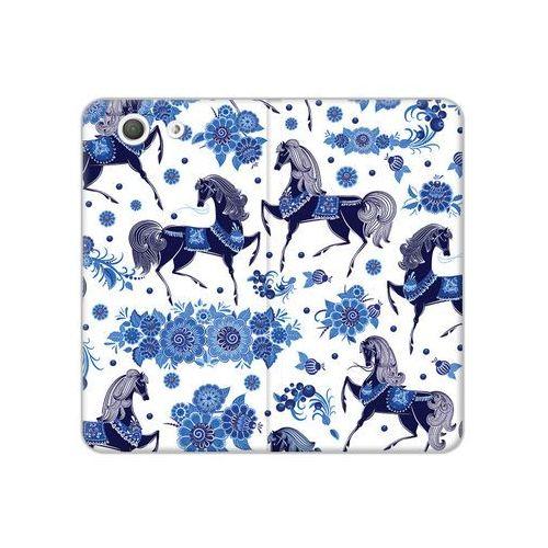 Sony Xperia Z3 Compact - etui na telefon Flex Book Fantastic - folkowe niebieskie konie, kolor niebieski