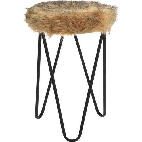 Stołek FUR Design, taboret z futerkiem - brązowy