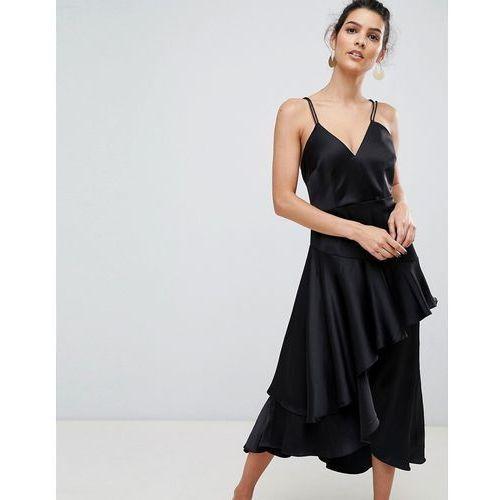 ruffle side cami mini dress in black with cross back - black marki Y.a.s