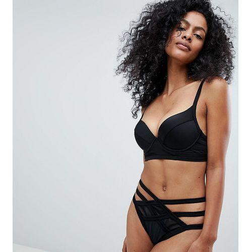 exclusive mesh insert strappy bikini bottom - black, Wolf & whistle