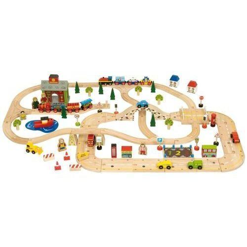 Kolejka drewniana do zabawy dla dzieci- droga miejska i kolej, bigjigs marki Bigjigs toys
