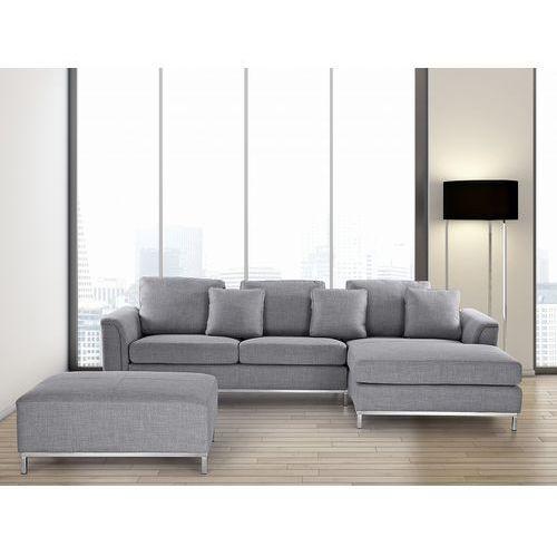 Beliani Sofa narożna z pufą w kolorze jasnoszarym l - kanapa tapicerowana - oslo