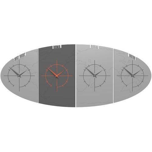 Zegar ze strefami czasowymi do biura Sydney CalleaDesign aluminium / szary (12-004-2), kolor szary