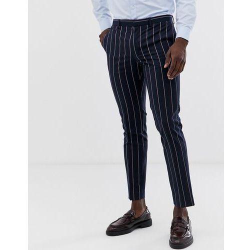 Burton menswear wedding suit trousers with navy stripe in burgundy - navy