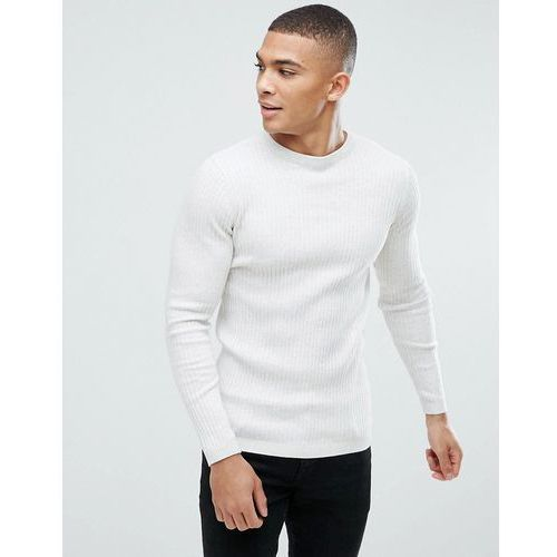 New look ribbed muscle fit jumper in cream marl - cream