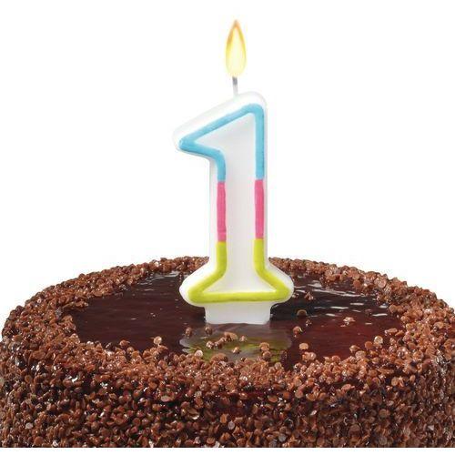 Świeczka na tort urodziny cyfra 1 7,5cm SUSY-CARD - cyfra 1