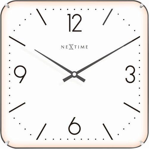 NeXtime - Zegar ścienny Basic Square Dome - biały