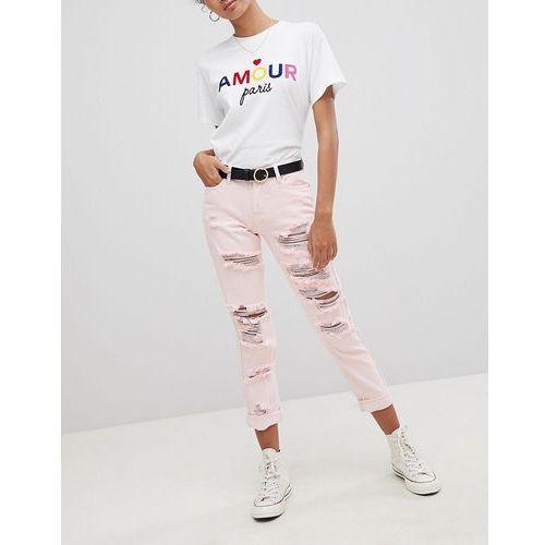 Glamorous Ripped Boyfriend Jeans - Pink, boyfriendy