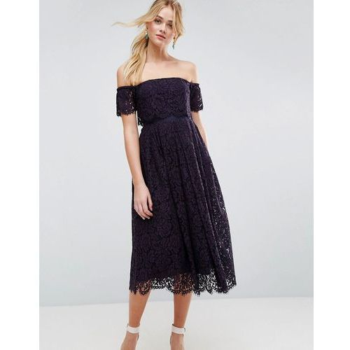 off the shoulder lace prom midi dress - navy, Asos