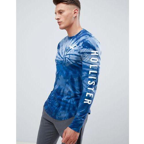 Hollister sleeve logo tie dye long sleeve top in navy - Navy