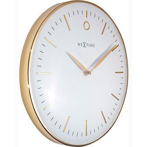 Nextime Zegar ścienny złoty glamour 30 cm, biały cyferblat (3256 wi)