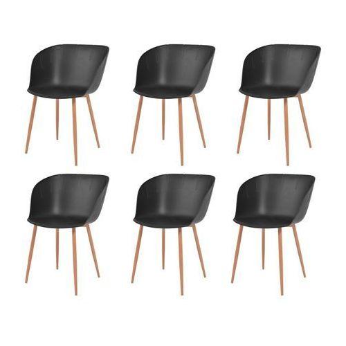 vidaXL Komplet 6 krzeseł, czarne, plastikowe siedziska i stalowe nogi, kolor czarny