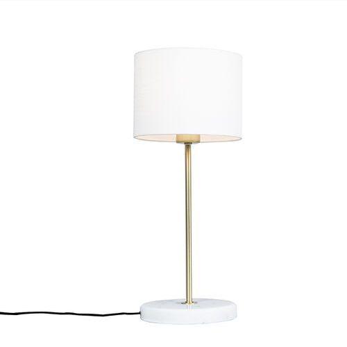 Qazqa Mosiężna lampa stołowa z białym abażurem 20 cm - kaso