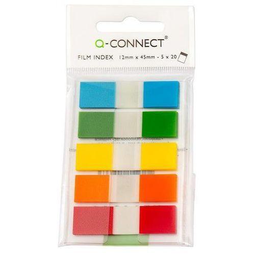 Zakładki indeksujące Q-CONNECT, PP, 12x45mm, 100 kart., zawieszka, mix kolorów (5705831149663)