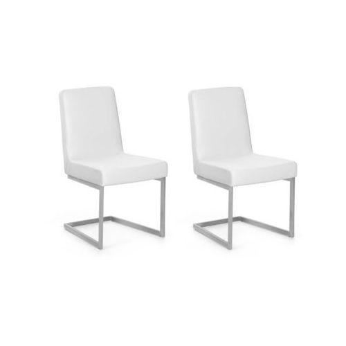 Zestaw do jadalni 2 krzesła białe stal nierdzewna ARCTIC, kolor biały