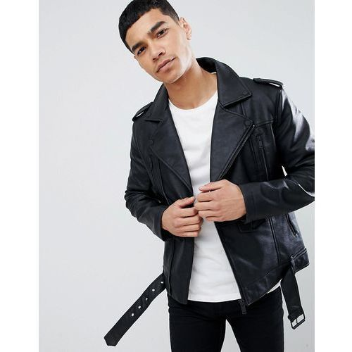 Bershka faux leather biker jacket in black - grey