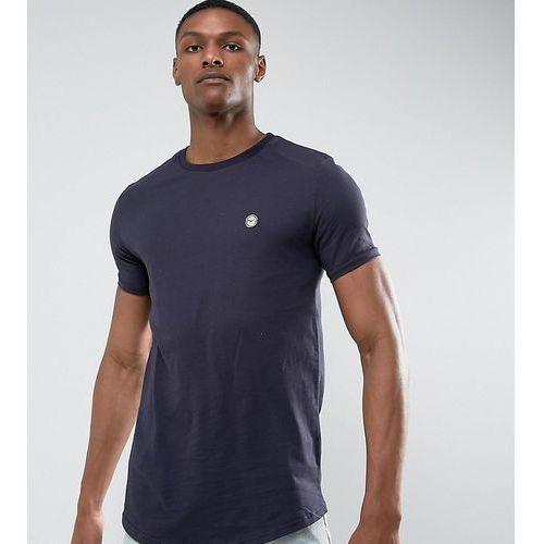 Le Breve TALL Logline Curved Hem Twill Shoulder T-Shirt - Navy
