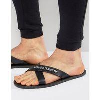 logo cross over flip flops in black - black, Armani jeans
