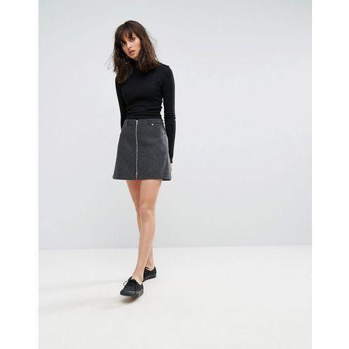 Weekday Zip Mini Skirt - Grey