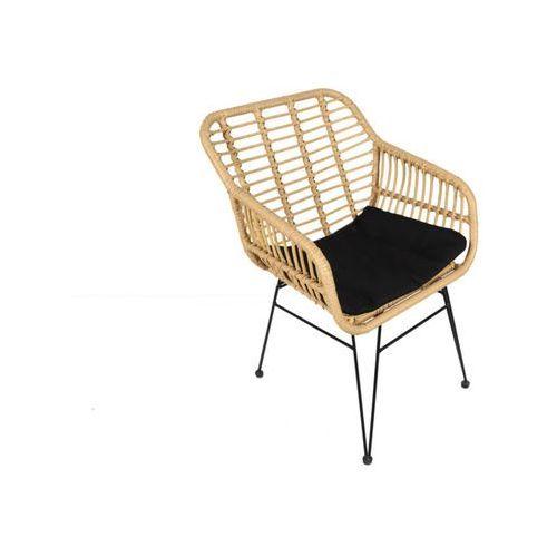 Fotel ogrodowy NOSARA z technorattanu - Czarne siedzisko