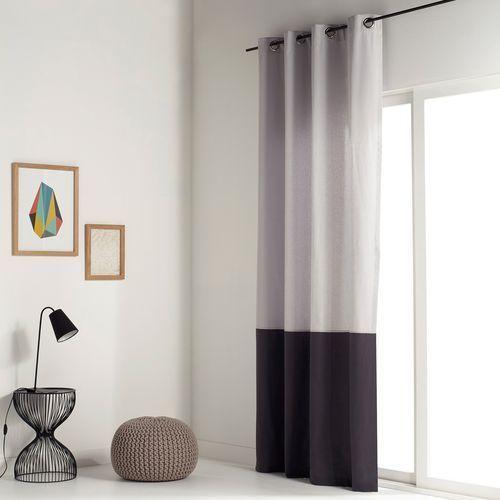 Zasłona dwukolorowa, 100% bawełna, z przelotkami, aguri marki La redoute interieurs