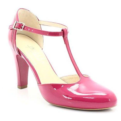 5879 fuksja lakier - buty damskie doskonałe do tańca, skóra naturalna - różowy marki Kotyl