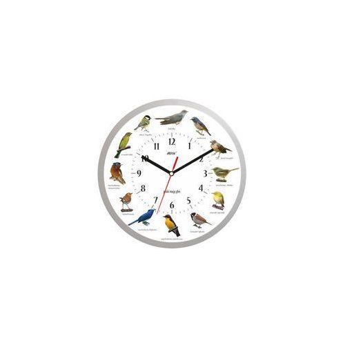 Zegar z głosami ptaków #1 srebrny duży 35cm