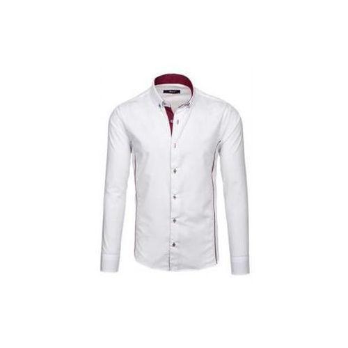 Koszula męska elegancka z długim rękawem biało-bordowa Bolf 5722-1, kolor biały
