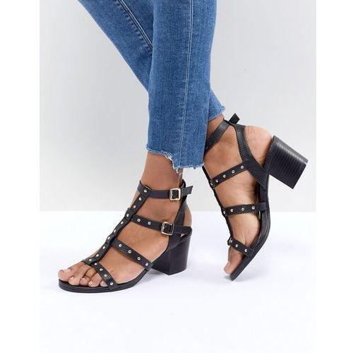 stud multi strap block heel sandal - black, New look