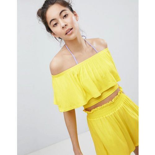 cropped frill bardot beach top - yellow, Monki, S-M
