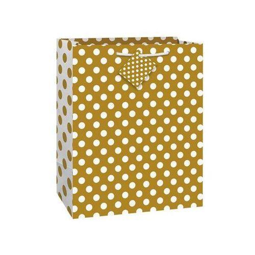 Torebka prezentowa złota w białe kropeczki 27x32 cm - 1 szt. marki Unique
